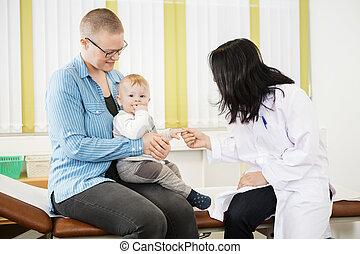 嬰孩, 醫生, 母親, 床, 坐