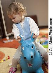 嬰孩, 騎馬, a, 玩具馬