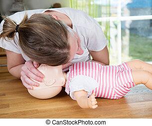 嬰孩, cpr, 呼吸, 檢查, 簽署