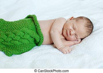 嬰孩, sleeping., 新生, 孩子, art., 美麗, 孩子, 男孩, 或者, 女孩, 睡覺