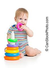 子が遊ぶ, ∥で∥, カラフルである, おもちゃ, 隔離された, 白