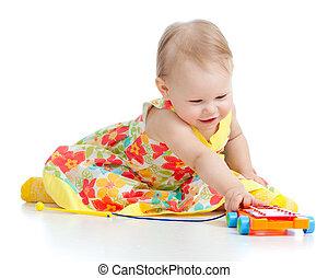 子が遊ぶ, ∥で∥, ミュージカル, toys., 隔離された, 白, 背景