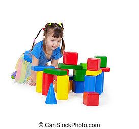 子が遊ぶ, 隔離された, 白, 背景