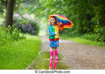 子が遊ぶ, 雨, ∥で∥, 傘