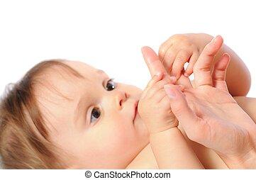 子を抱く, 母, 手, やし