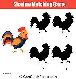 子供たちがゲームをする, ファインド, 子供, 活動, 影, 正しい, マッチ