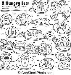 子供たちがゲームをする, 熊, 空腹, 迷路, 白, 黒