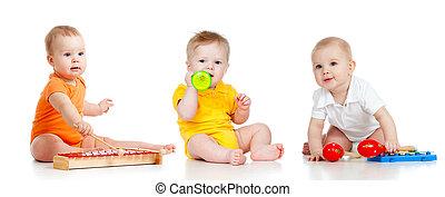 子供たちが遊ぶ, ∥で∥, ミュージカル, toys., 隔離された, 白, 背景