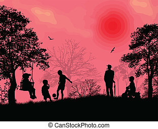 子供たちが遊ぶ, 中に, a, 公園