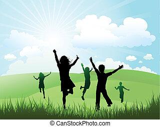 子供たちが遊ぶ, 外, 上に, a, よく晴れた日