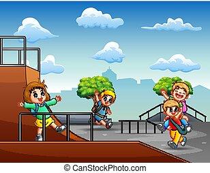 子供たちが遊ぶ, skatepark, 漫画