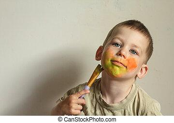 子供の絵画, 彼の, 顔