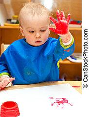 子供の絵画, 手