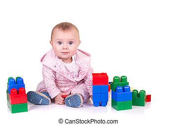 子供司厨員, 遊び, ∥で∥, ブロック, おもちゃ, 上に, 白い背景