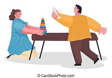 子供, おもちゃ, 女の子, 遊び, 男の子, ベクトル