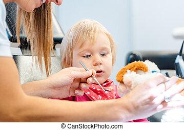 子供, おもちゃ, 説明, プラシ天, 歯科医, 使うこと, 待遇