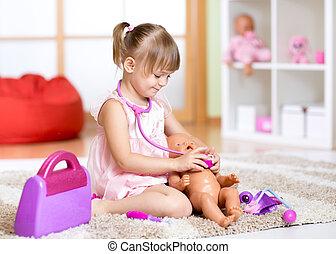 子供, おもちゃ, 遊び, 医者