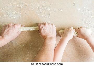 子供, お父さん, 未加工, 生地, 手, 作り