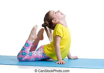 子供, すること, フィットネス, 練習