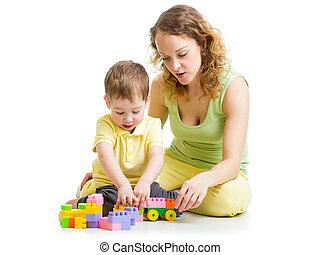 子供, そして, お母さん, 演劇との, ブロック, おもちゃ