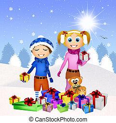 子供, そして, クリスマスの ギフト