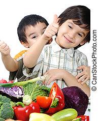 子供, そして, 新鮮な野菜