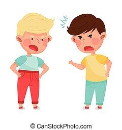 子供, それぞれ, 敵対的である, 怒る, ベクトル, しかめっ面をしなさい, 他, 叫ぶこと, イラスト, 論争