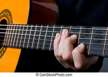 子供, だれか, プレーする, ギター