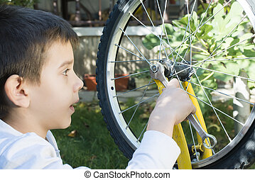 子供, だれか, 苦境, 自転車