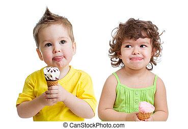 子供, ∥で∥, コーン, アイスクリーム, 隔離された, 白