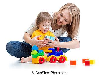 子供, ∥で∥, 彼の, お母さん, プレーしなさい, ブロック, おもちゃ