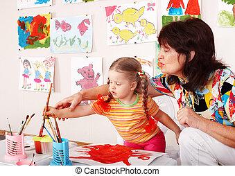 子供, ∥で∥, 教師, ドロー, ペンキ, 中に, playroom.