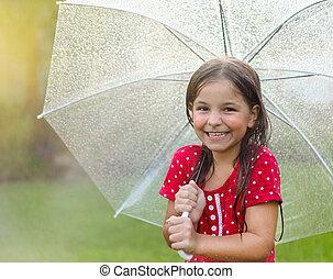 子供, ∥で∥, 身に着けていること, ポルカドット, 服, 下に, 傘