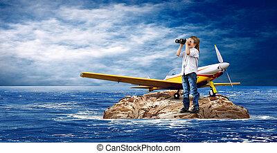 子供, ∥で∥, 飛行機, 上に, ∥, 島, 中に, sea.