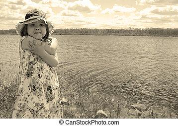 子供, ∥において∥, ∥, 湖