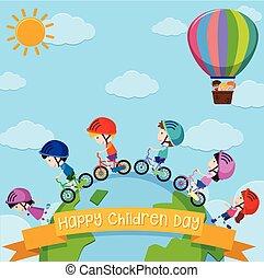 子供, のまわり, ポスター, 子供, デザイン, 世界, 日
