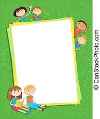 子供, のまわり, 縦, ポスター, イラスト, の後ろ, ベクトル, bunner, 旗