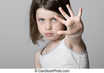 子供, の上, 手