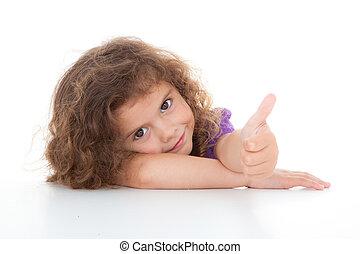 子供, の上, 親指