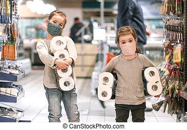 子供, の間, スーパーマーケット, 買い物, pandemic