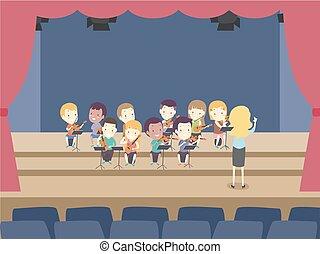 子供, ひも, オーケストラ, イラスト, リハーサル, アンサンブル, ステージ