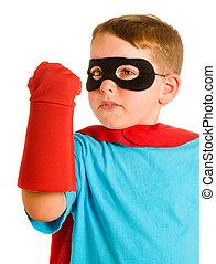 子供, ふりをすること, へ, ありなさい, a, superhero