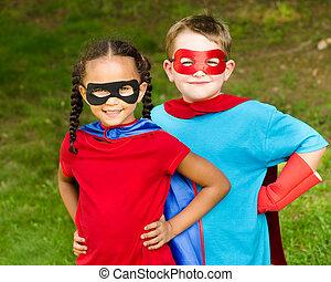 子供, ふりをすること, へ, ありなさい, superheroes