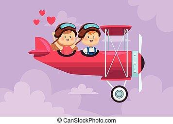 子供, わずかしか, 飛行機, 恋人, 飛行, かわいい