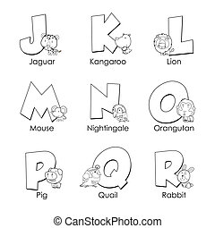 子供, アルファベット, 着色, j, r
