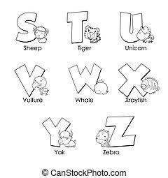 子供, アルファベット, 着色, s, z
