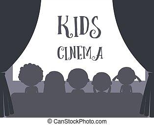 子供, イラスト, 映画館