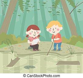 子供, イラスト, 泥地