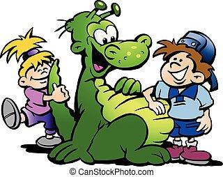 子供, イラスト, 漫画, 恐竜, ベクトル, 楽しみ, 持つこと