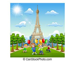 子供, エッフェル, 持って来なさい, 前部, タワー, 風船, 幸せ